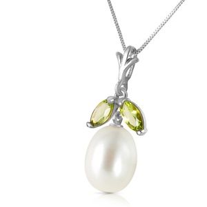GOLD NECKLACE WITH NATURAL PEARL & PERIDOT